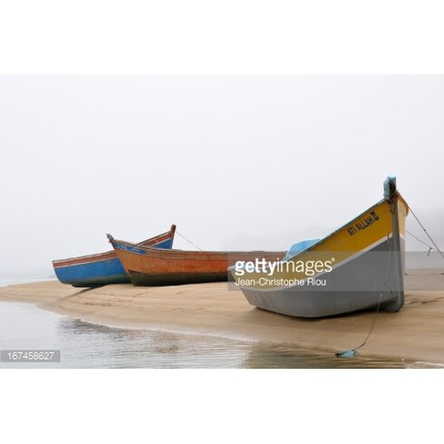 Boats on Beach by Jean-Christophe Riou Photographic Print