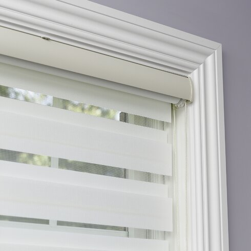 Best Home Fashion Premium Duo Wood Look Roller Window Shade