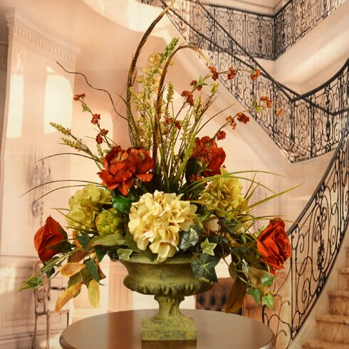 peony and hydrangea silk flower arrangement with feathers - Silk Arrangements For Home Decor