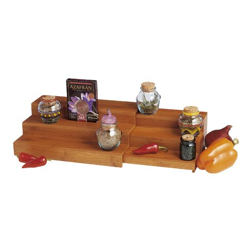 Bamboo Expandable Triple Step Spice Rack
