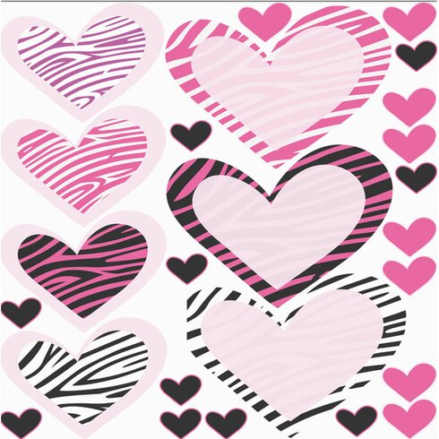 Glastattoo-Set Herzen Zebra