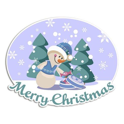 Wandsticker Merry Christmas, Schnee