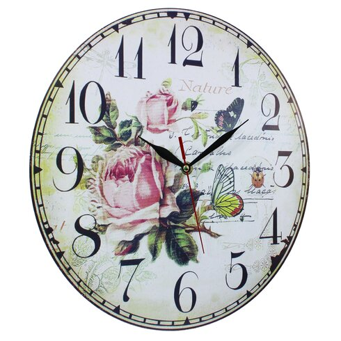 34cm Flowers and Butterfly Wall Clock