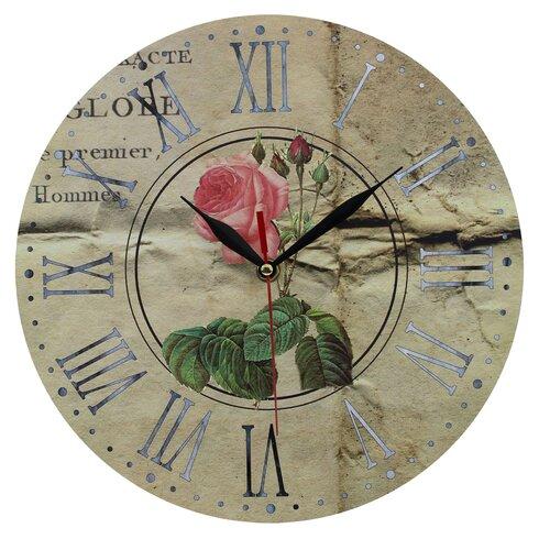 Pink Rose 28cm Wall Clock