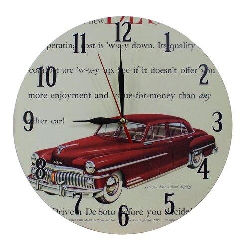 Nostalgic Retro 28cm Desoto Red Car Wall Clock