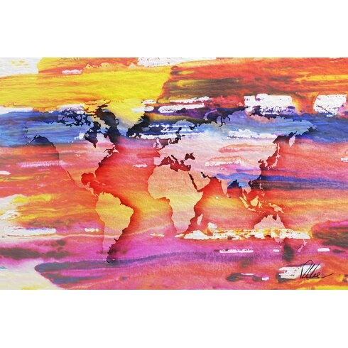 Maps and Flags Painty Map by Andrew Lee Art Print Wrapped on Canvas