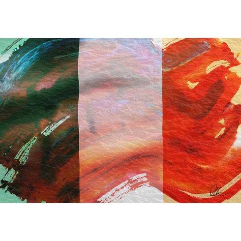 Maps and Flags Irish Flag Art Print on Canvas
