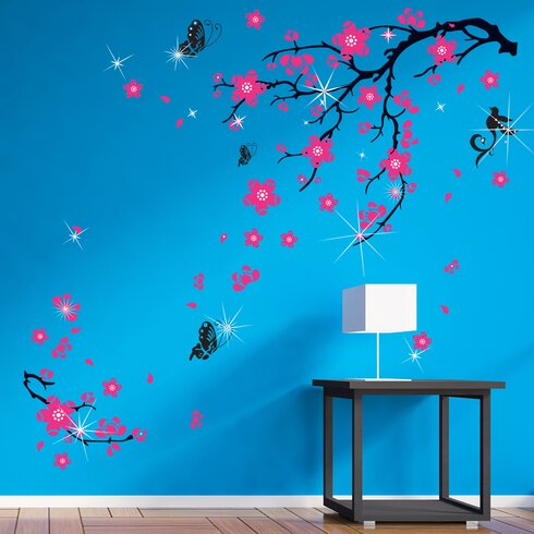Swarovski with Pink Blossom Flowers for Children's Room Wall Sticker