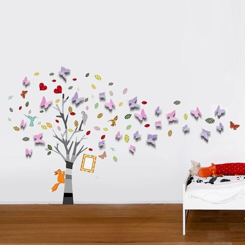 3D Butterflies with Colourful Photo Frame Tree Wall Sticker