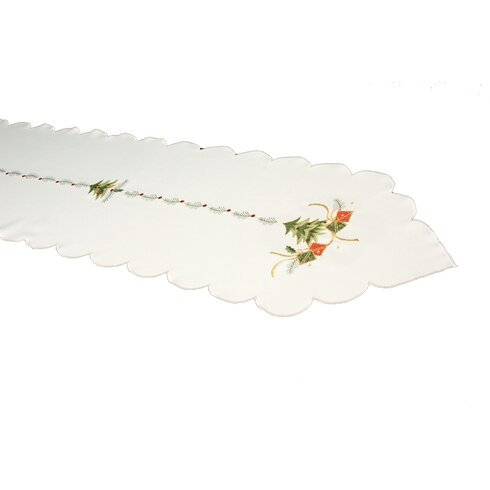 Green Tree and Gift Embroidered Table Runner