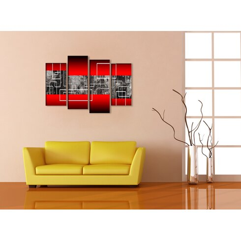 Abstract 4 Piece Graphic Art Wrapped on Canvas Set