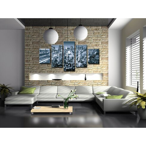 New York Skyline 5 Piece Photographic Print Wrapped on Canvas Set