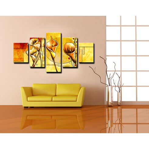 Flowers 5 Piece Graphic Art Wrapped on Canvas Set