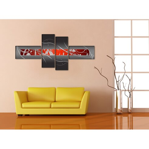 Modern 4 Piece Graphic Art Wrapped on Canvas Set