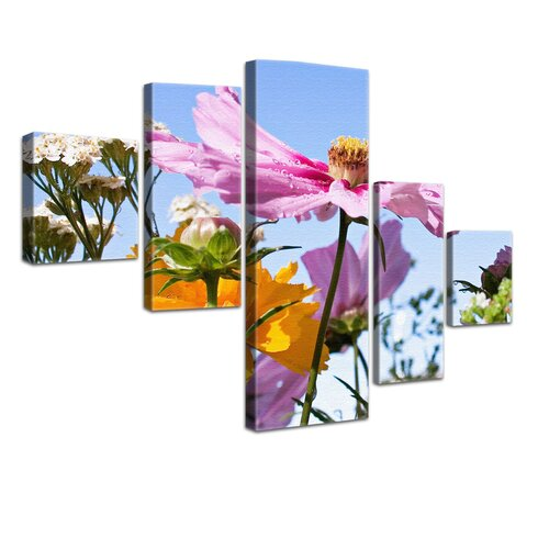 Field Flowers 5 Piece Photographic Print on Canvas Set