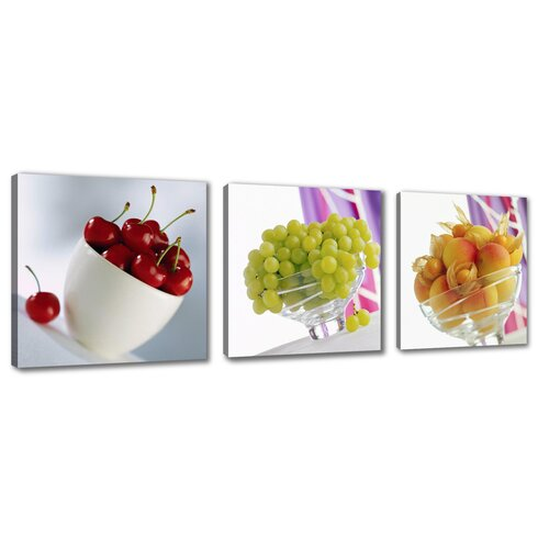 Fruits 3 Piece Photographic Print on Canvas Set