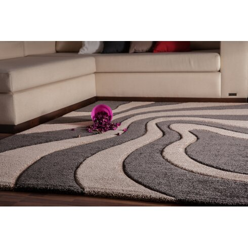 France Provence Hand-Woven Platinum and Beige Area Rug