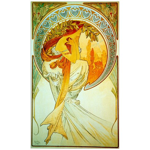 """Poetry"" by Mucha Art Print Plaque"