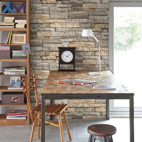 Kitchen & Bathroom 10m L x 52cm W Brick, Wood and Stone Roll Wallpaper