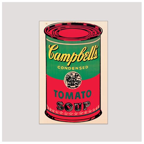 'Campbell Soup Can 1965' by Warhol Vintage Advertisement Plaque in Beige/Red