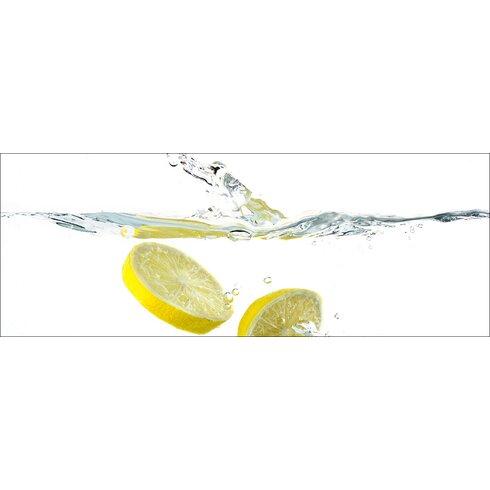 Glasbild Swimming Lemon, Kunstdruck