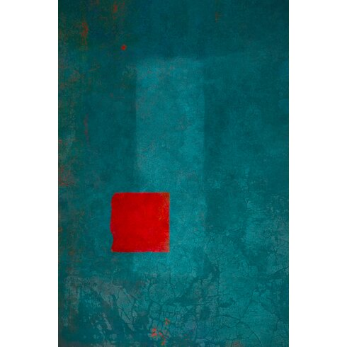 'Red and Turquoise 1' by Laurence David Framed Graphic Art