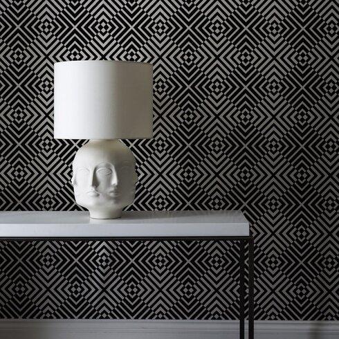 Flock 10m L x 52cm W Geometric Flocked Roll Wallpaper