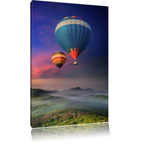 Colourful Hot Air Balloons Above Green Woods Photographic Print on Canvas