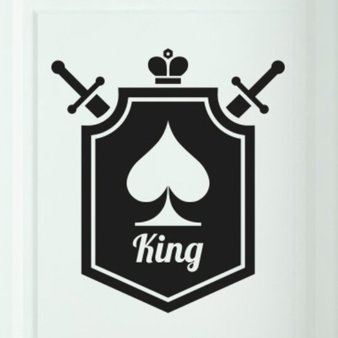 King of Spaces Shield Door Room Wall Sticker
