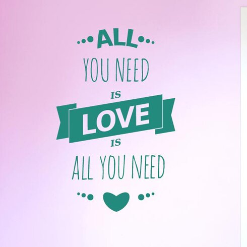 All You Need Is Love Is All You Need Three Small Hearts Wall Sticker