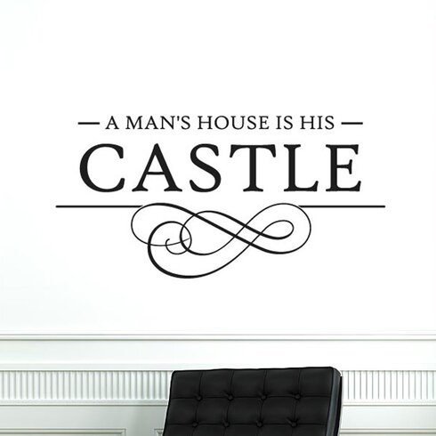 A Mans House Is His Castle Swirl Wall Sticker