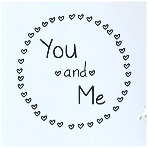 You and Me Surrounded By Mini Hearts Wall Sticker