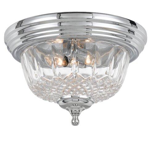 Historical Brass Lead Crystal 2-Light Flush Mount