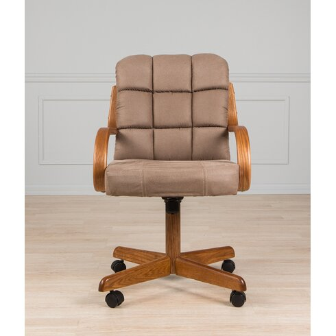 Wade Logan Davila Mid Back Dining Caster Chair With Arms