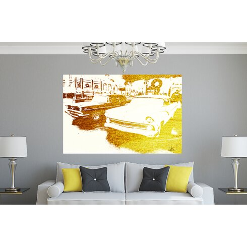 'Gold Cool Cars' Graphic Art Wrapped on Canvas