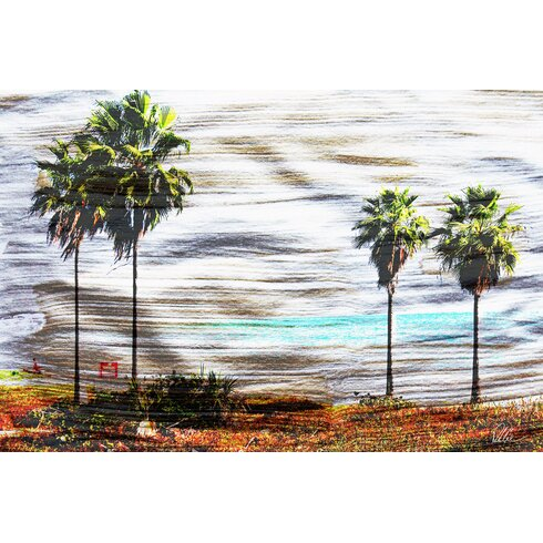 'Gold S and G Palm' Graphic Art Wrapped on Canvas