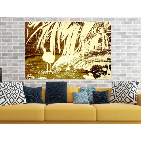 'Gold Pretty Bird' Graphic Art Wrapped on Canvas