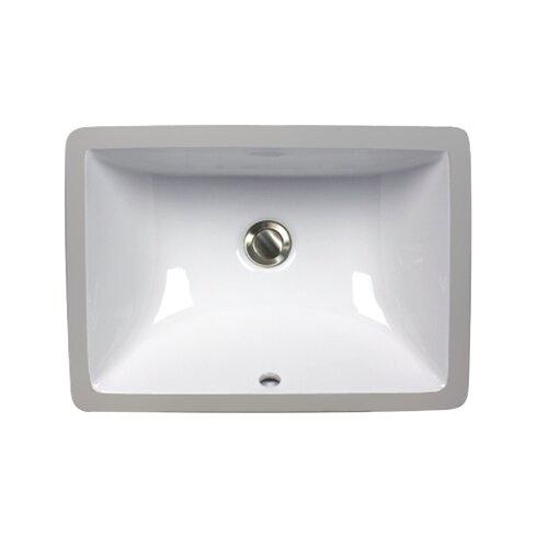 Great Point Rectangular Undermount Bathroom Sink with Overflow