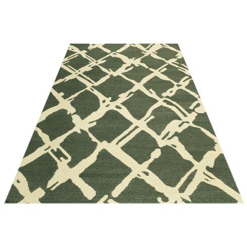 Kilim Hand-Woven Green Area Rug