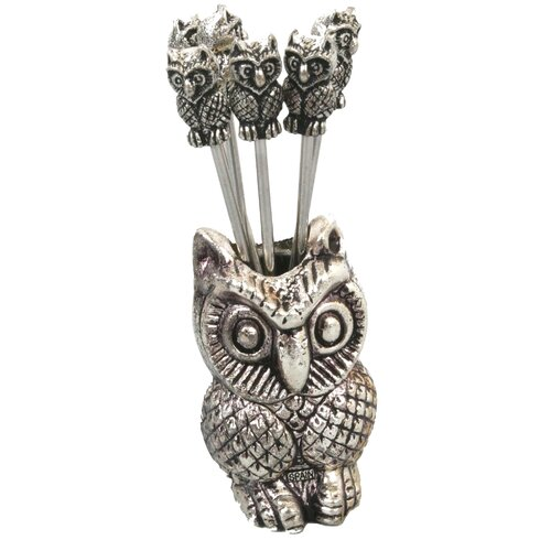 7 Piece Owl Olive Picks Utensil Set