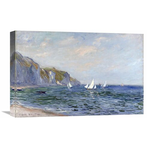 'Cliffs and Sailboats at Pourville' by Claude Monet Painting Print on Wrapped Canvas