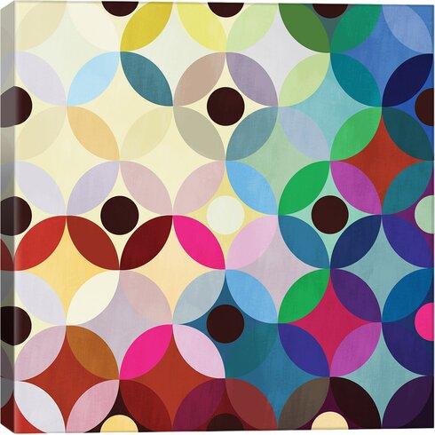 Modern Mid Century Circular Motion Graphic Art on Canvas