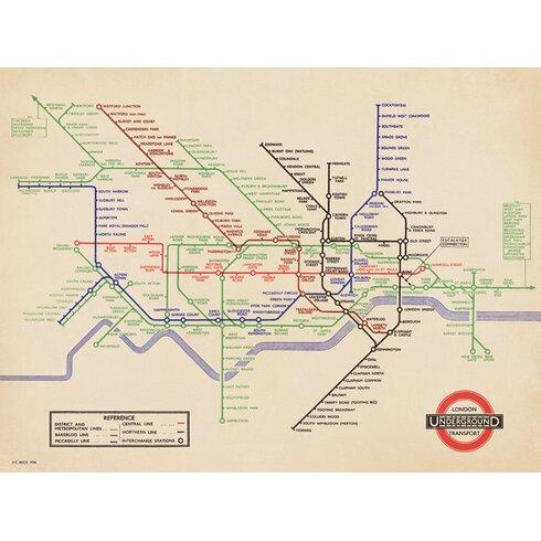 London Underground - 1936 Map Canvas Wall Art