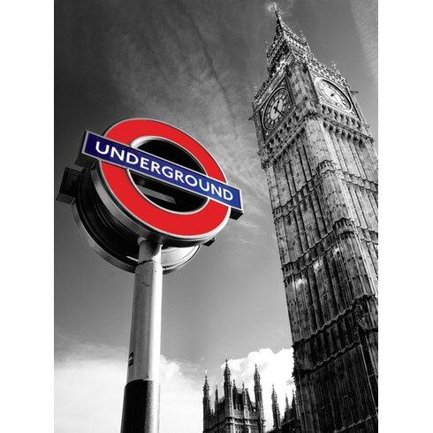 Big Ben and Underground Sign Canvas Wall Art