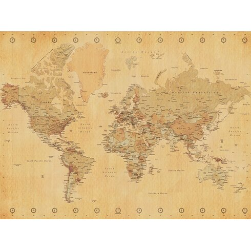 World Map - Vintage Style Canvas Wall Art
