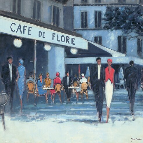 Jon Barker - Cafe De Flore Paris Canvas Wall Art