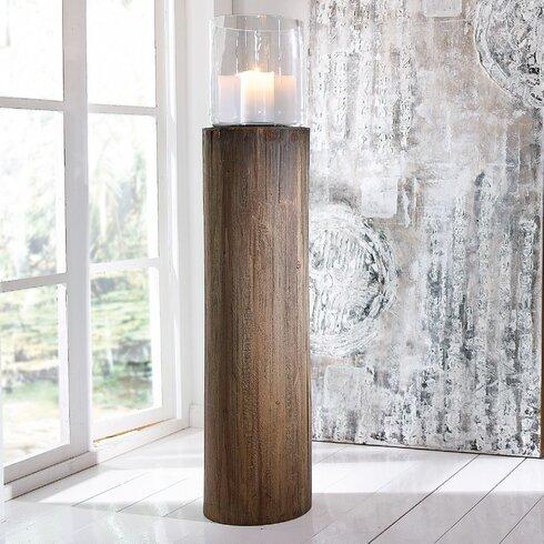Windlicht Circle aus Holz und Glas