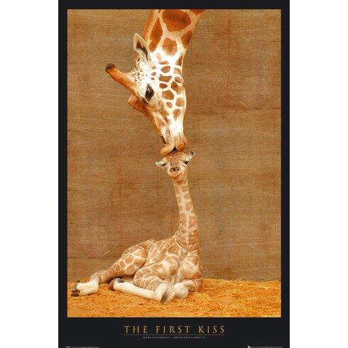 First Kiss Giraffe Graphic Print Decorative Plaque