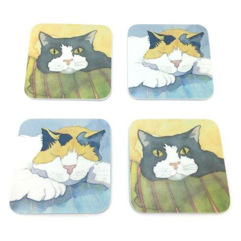 4 Piece Assorted Cat Melamine Coaster Set