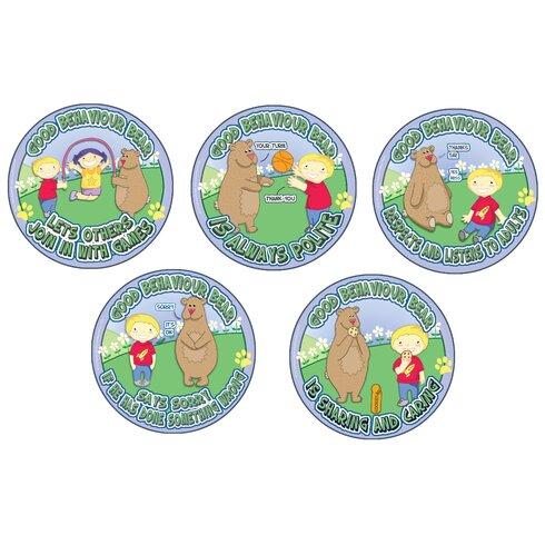 5 Piece Good Behaviour Bear Outdoor Wall Plaque Set
